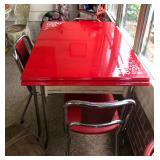 Red enamel table