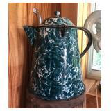 Antique Granite Ware Chrysolite Coffee Pot