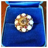 Vintage 14k Thai Princess Ring 8 Rubies 8 Opals size 5.5 6.8gm $185