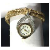 "14k Art Deco Bracelet with Gold Watch Capped by White Gold Bannered Pave Diamonds, 6.5"", 36.8g; $950"