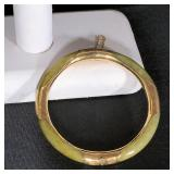 "Jade & 14k Gold Bangle, 4 Etched Gold Stations with Gold Interior; 7mm; 7""; Security Chain $275"