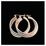"14k Tri- Color Twist Hoop Earrings; 1.25"" x 1""; 4.5g; $105"