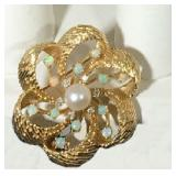 "14k Bow Brooch/Pendant 1.25"" with (12) 3mm Opals, (6) 2mm Diamonds, 6mm Cultured Pearl; 14.1g; $395"
