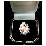 6 High Luster Matched 5.5-6mm Cultured Pearls & (3) .03ct Sapphires in 14k Ring, size 5.5, 6.6g $295