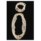 "13.5"" 3 Strand Freshwater Pearl Choker with 21 Diamonds on 14k Clasp; Matching 7.5"" Bracelet $495set"