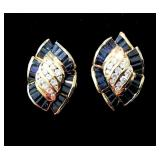 18k Marquis Shaped Earrings, .50ct of Top Grade Sapphires, .40ct Diamonds, Folding Studs 16.5g, $375