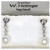 "18k 7x9mm High Luster Pearl Drop Earrings with (3) 3mm Diamonds, Total Length 1"" $110"