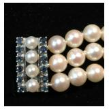 "Triple Strand 6mm Cultured Pearl Bracelet with 14k Pearl & Sapphire Security Clasp; 7.5""; $995 OBO"