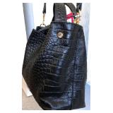 VINCE CAMUTO NWT NIKI Black Croc Leather Tote with Shoulder Strap 9Lx11Wx8D $120 - Reserve $65