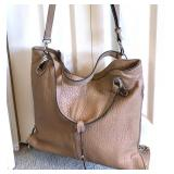 VINCE CAMUTO Light Taupe Pebbled Leather Satchel, Shoulder Strap 12.5Lx14Wx5D $110 - Reserve $65