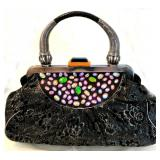 SHARIF Gray Croc wSilver Embroidered Satchel-Faux Gems-Lucite Clasp-Inner Pockets-Metal Handle $225