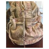 Vintage CARLOS CHI by Falachi Fawn Leather & Sueded Snake Skin Satchel Side $95