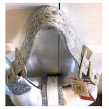 CHARM & LUCK NWT Rhinestone & Brass Studded Leather Hobo, Silver Gray Tooling-Studded Strap $50