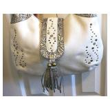 CHARM & LUCK NWT Rhinestone & Brass Studded White Leather Hobo, Silver Gray Tooling, Front $50