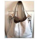 MICHAEL KORS Verso Studded Ecru Pebble Leather Hobo-10Hx13Wx5D Thin Light Mark $125 Reserve $65