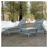 BLUE & GRAY PATIO CHAISE LOUNGES
