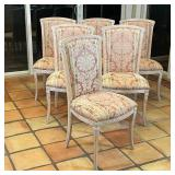 (6pc) CARVED PAINTED SIDE CHAIRS