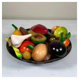 BOWL of CARVED FRUIT & VEGETABLES