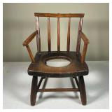 ANTIQUE CHILDS COMMODE CHAIR