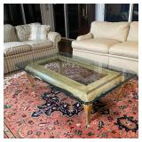GLASS & CARVED WOOD COFFEE TABLE