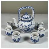 BLUE & WHITE CERAMIC TEA SET
