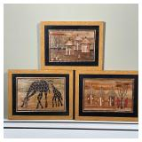 (3pc) AFRICAN PARQUETRY SCENES