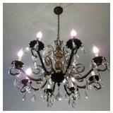 Beautiful Vintage Antique Brass 8 Arm Double Pineapple Chandelier with Crystal Prisms