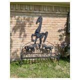 Iron Horse yard decor and bench