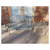 iron outdoor bench and table