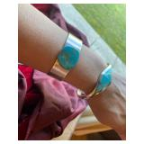 Sterling silver stamped turquoise cuffs/bangles
