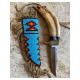 Wolf head Carved Knife Deer Antler with brass guard, beaded Indian Sheath