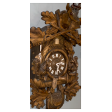 LARGE black forest cuckoo clock with woodland relief carvings