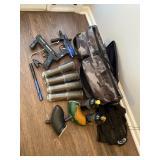 Paintball guns and bag