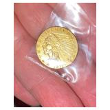 Solid gold 1911 2 1/2 dollar coin