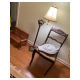 Antique lighting, And enamel bedpan
