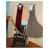 Evening gowns, and crime scene sash