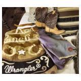 Kids Cowboy Boots, Chaps, Wrangler Throw Blanket