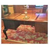Beautiful office desk with leather trmmed top