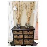Cool Black Wicker basket storage table