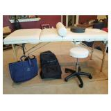 MASSAGE TABLE & MEDICAL ROLLING STOOL