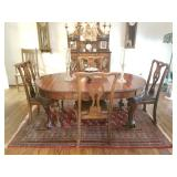 Antique Burled wood English dining room table & chairs
