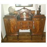 STUNNING Antique English Burled Walnut Buffet