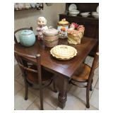 Nice antique kitchen table w/ 4 chairs / VIntage cookie jars