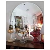 Oil lamps & Antique wall mirrors
