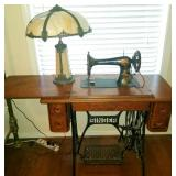 Antique Singer Sewing machine with base