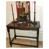 Beautiful Barley Twist sofa/ hall table & Antique Barley twist candlestick holders