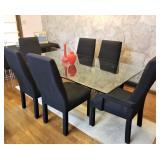 BEAUTIFUL MCM heavy beveled glass dining room table & black chiars