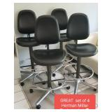 """Awesome set of 4 HERMAN MILLER leather & chrome """"task stools"""" - LOVE THESE !!!!"""