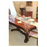 Bernhardt dining room table with 10 chairs (2 arm, 8 side) and 2 extra leaves