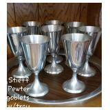 MCM Stieff pwwter goblets & tray